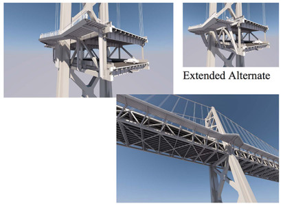 A second option would be a similar cantilevered path, but with less obtrusive supports.